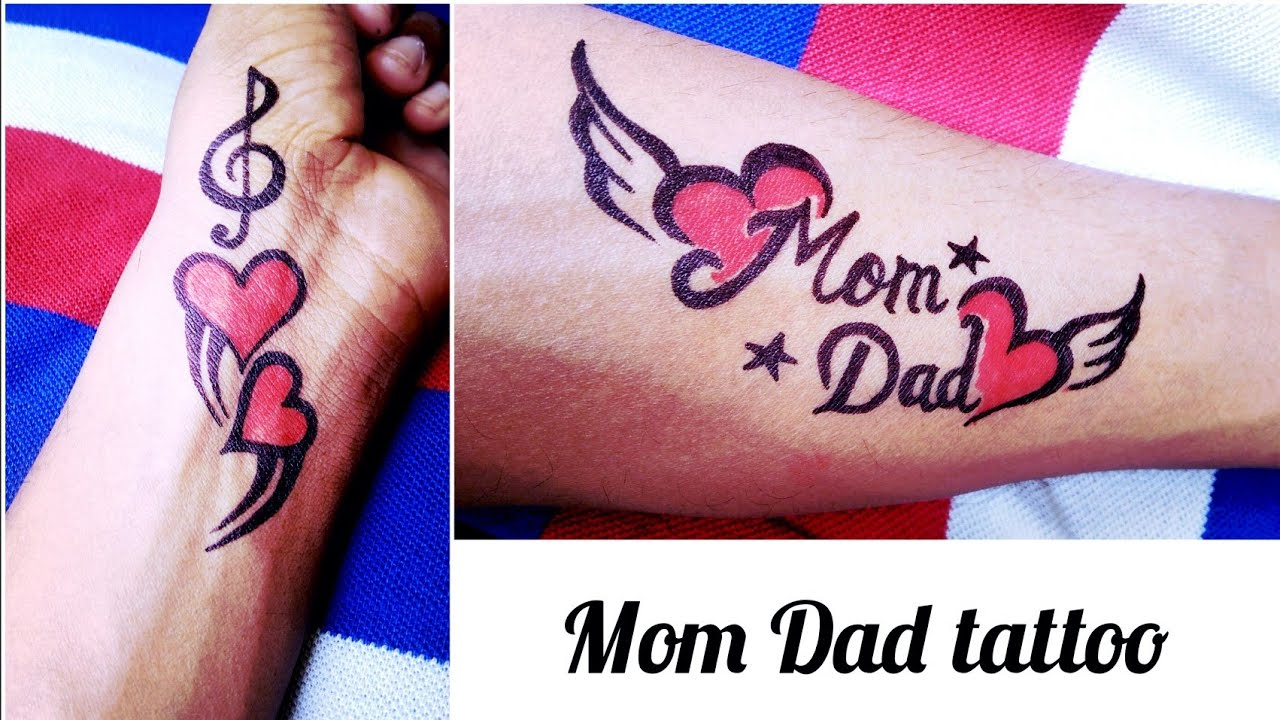 Easy Tattoo Of Mom Dad Youtube