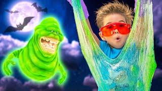 Лизун привидение на хеллоуин || Светящийся слайм привидение || Ghostbusters slimer