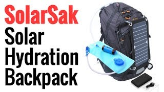 SolarSak Solar Hydration Backpack With Built In Solar Panel, Power Bank, and Water Purification