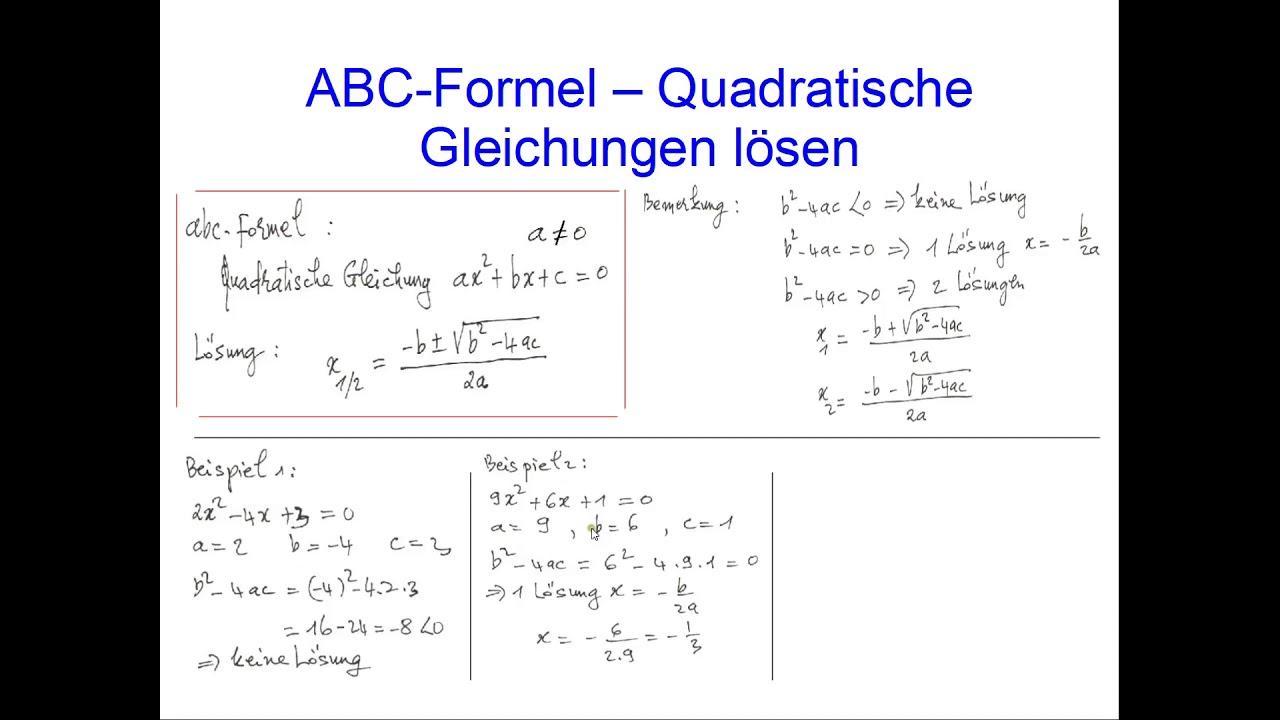 Quadratische Gleichungen lösen - ABC-Formel Dr. Do - YouTube