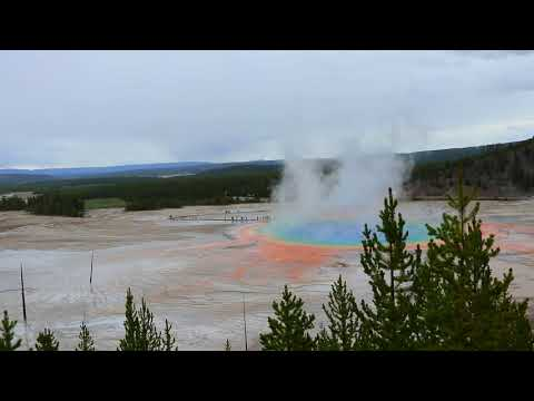 Yellowstone National Park, WY - Grand Prismatic Spring Geyser Overlook - Travel