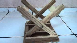 Banquinho Dobrável - Tamborete De Madeira Portátil -  Portable Wood Folding Stool