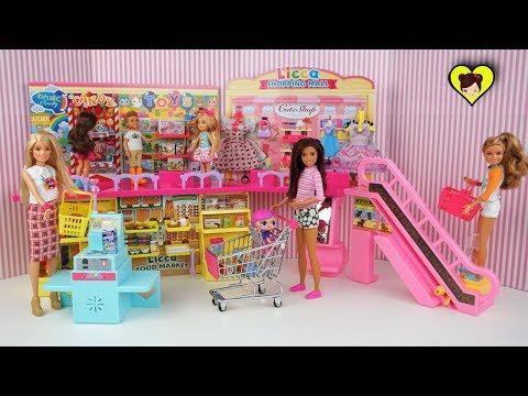 Centro Commercial de Muñecas con Supermercado, Boutique y Tienda de Juguetes