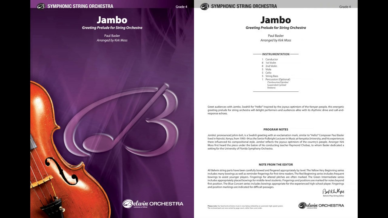 Jambo, arr  Kirk Moss – Score & Sound