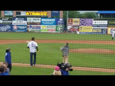 Tim Couch First Pitch before Tim Tebow plays Lexington Legends