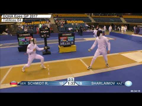 2018 387 M E Individual Doha QAT GP T64 06 yellow SCHMIDT GER vs SHARLAIMOV KAZ