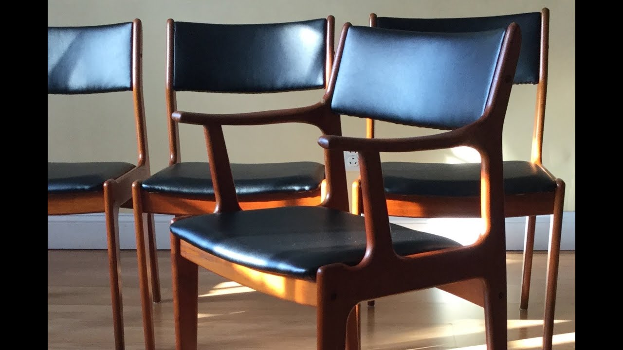 how to re upholster the backs of danish midcentury modern teak dining chairs youtube