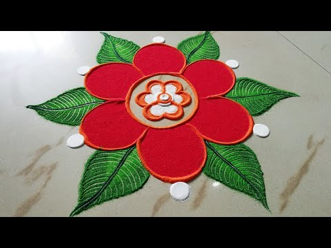 Beautiful Flowers And Leaves Rangoli Design By Sangeeta || Easy Rangoli Design For Festivals -