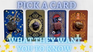 What They Want You to Know🤫💥| PICK A CARD🔮 In-Depth Love Tarot Reading