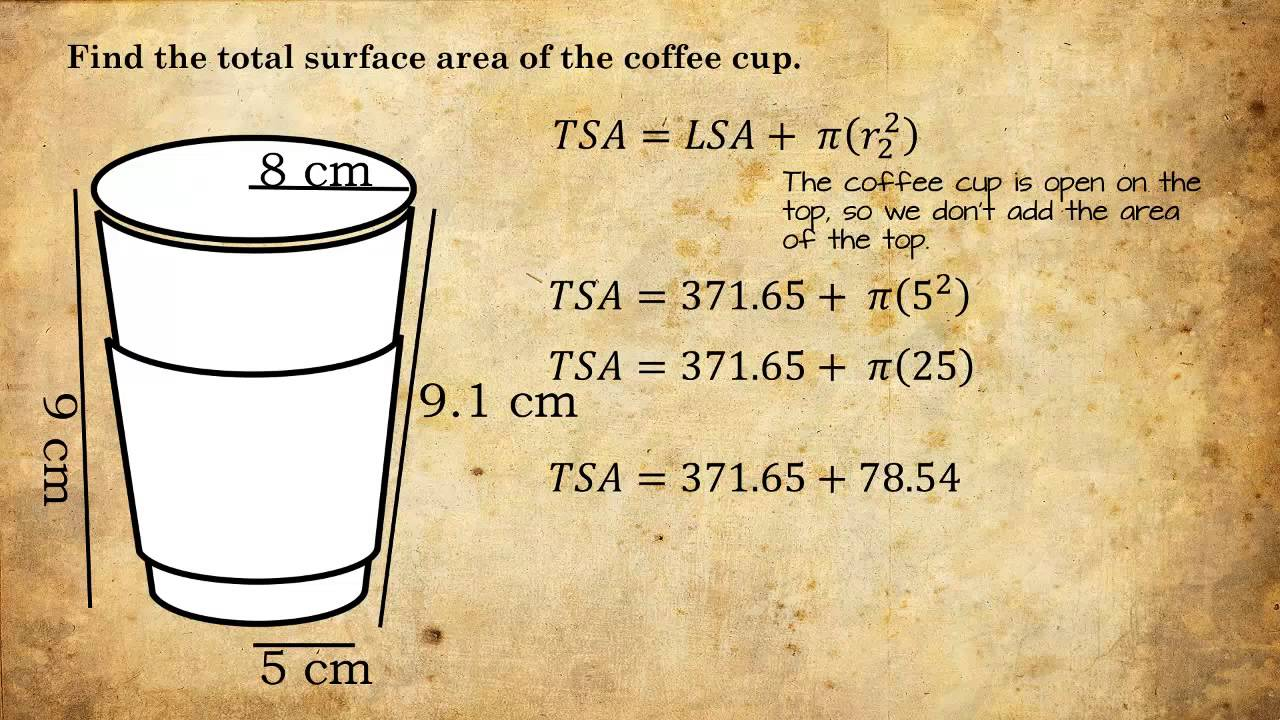 Lateral Area Total And Volume Of A Coffee Cup