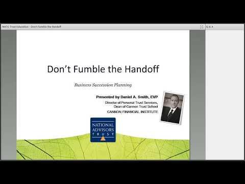 Trust Education: Don't Fumble the Handoff by National Advisors Trust Company