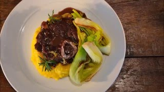 OssoBuco garlic polenta roasted leek