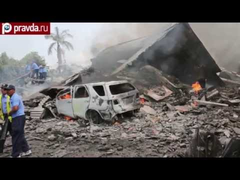 Hercules C-130 crashes on hotel and houses in Indonesia
