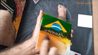 pintura em azulejo bandeira do brasil