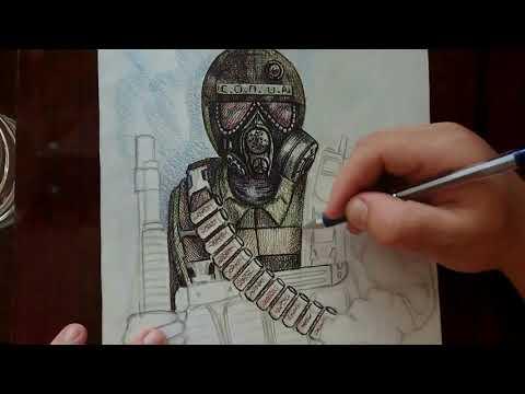 """Как нарисовать фигуру человека? Продолжение """"ВОЕННЫЙ СТАЛКЕР (бронекостюм БЕРИЛЛ-5м)""""."""