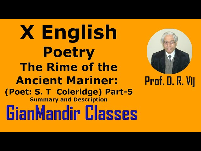 X English | Poetry | The Rime of the Ancient Mariner (Poet: S. T  Coleridge) Part-5 by Puja Ma'am