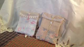 Shabby chic pouches made from a vintage quilt with altered playing cards inside
