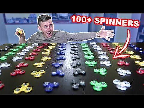 SPINNING 100+ FIDGET SPINNERS EXPERIMENT!! (WORLD RECORD!!)