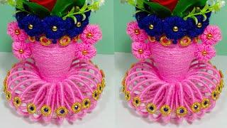 DIY EASY BANGELS FLOWER BASKET CRAFT IDEA/WOOLEN FLOWER VASE/BEST OUT OF BANGELS AND WOOL