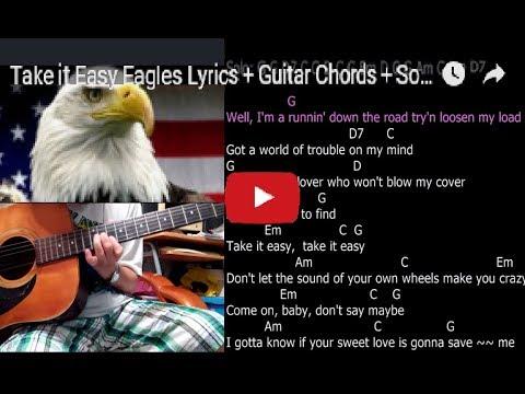 Take it Easy Eagles Lyrics + Guitar Chords + Solo - YouTube