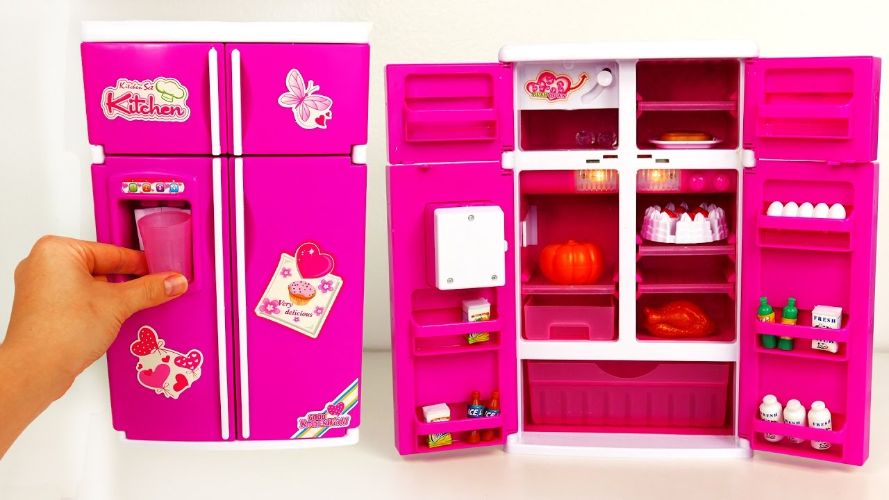 Kitchen Playset Mini Fridge With Play Food For Kids