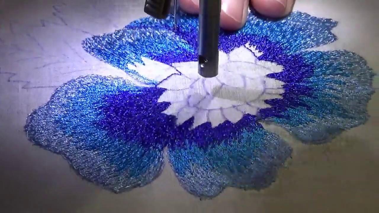 40239b384a2 Bordado de flor con maquina de coser eléctrica con solo puntada recta- P3  petalos grandes color 3