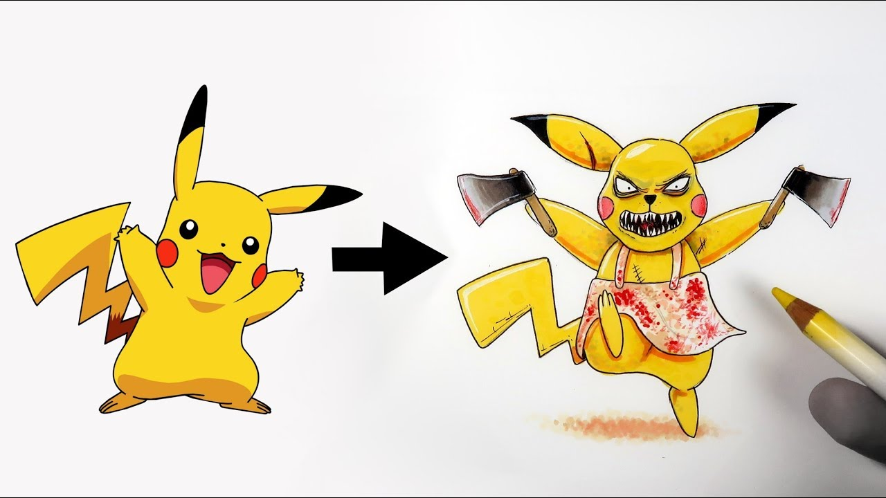 Je dessine les pok mons en version horreur youtube - Pikachu en dessin ...