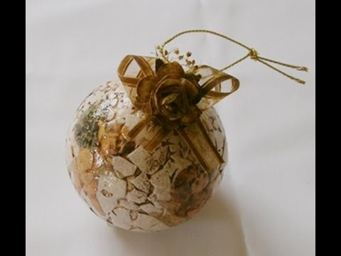 Como hacer bolas navide a vintage youtube for Como hacer decoraciones navidenas