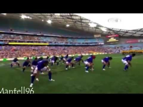 All the Pacific Islanders War Dances before Rugby Games