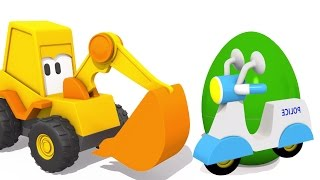 ЭКСКАВАТОР МАСЯ мультики про машинки для самых маленьких: яйцо СЮРПРИЗ и Полицейский мотоцикл