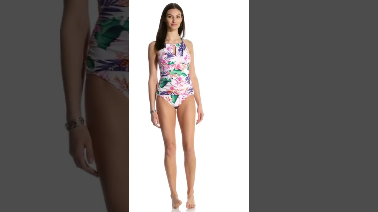 6228a58233a9f Tommy Bahama Orchid Canopy High Neck Halter One Piece Swimsuit ...