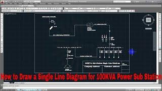 Draw a Single Line Diagram for 100KVA Power Sub Station  Auto CAD