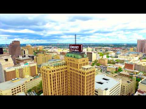 Aerial drone view of Downtown San Antonio, Texas Inspire 1 Riverwalk and Alamo