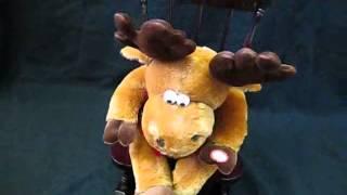Vintage Dan Dee Christmas Animated Musical Moose Wooden Rocking Chair Grandma