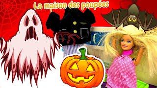 Barbie et sa famille fêtent Halloween. Un fantôme fait peur à Barbie.