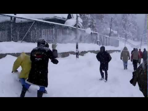 gulmarg kashmeer with snow falling