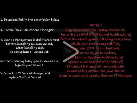 YouTube Vanced Infinite Loading screen and Sign in problem fix