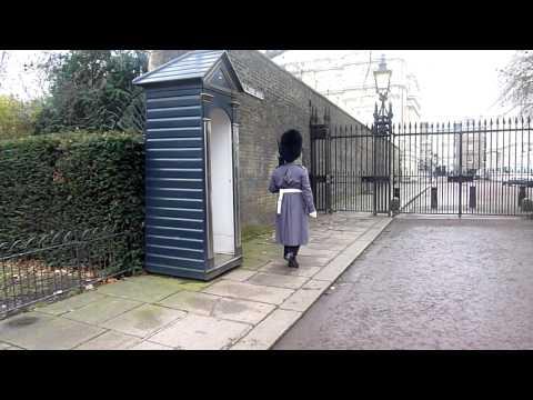 London Guard Hiding from Rain