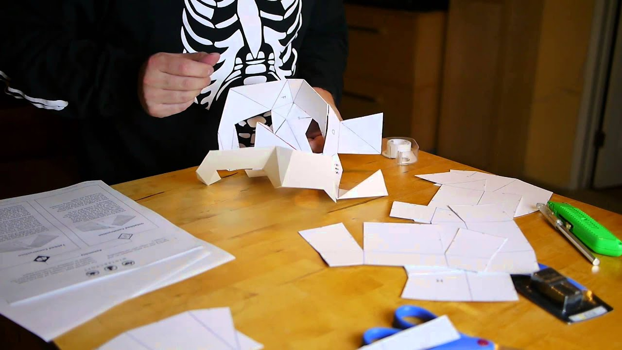 Papercraft Skull Halloween Mask - Last Minute Halloween Costume 2015 1080p by Fun For One