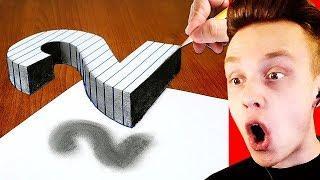 Как Нарисовать 3D Рисунок на Бумаге? / РЕАКЦИЯ на БЕШЕНЫЕ ИЛЛЮЗИИ на БУМАГЕ смотреть онлайн в хорошем качестве бесплатно - VIDEOOO