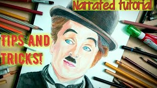 How to draw Charlie Chaplin-How to draw face with pencil colours-How to draw Portrait-celebdrawng#17