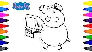Peppa Pig Grandpa's Computer Coloring for Kids