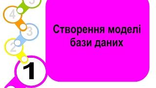 Створення бази даних 1 крок Створення моделі бази даних