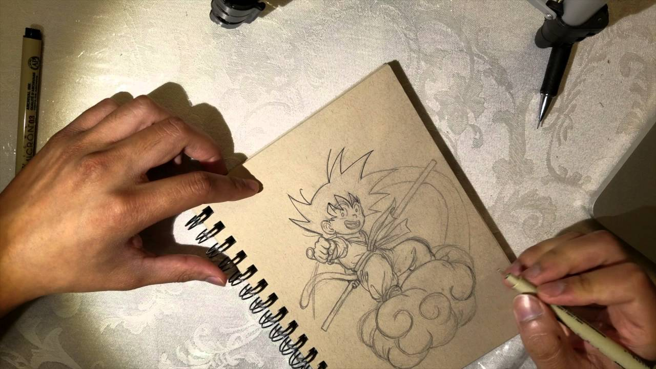 It is a graphic of Bewitching Goku On Nimbus Drawing