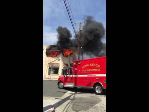 Long Beach Firefighters Battle Fire!!! In Downtown Long Beach  Cerritos and Broadway