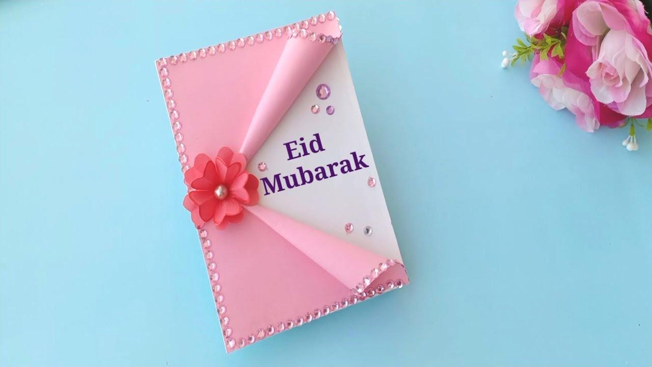 How To Make Eid Mubarak Card Handmade Easy Card Tutorial Youtube