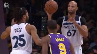Derrick Rose CLOSE LINE Rajon Rondo Lakers VS Timberwolves