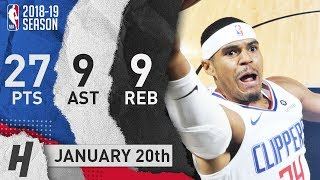 Tobias Harris Full Highlights Clippers vs Spurs 2019.01.20 - 27 Pts, 9 Ast, 9 Rebounds!