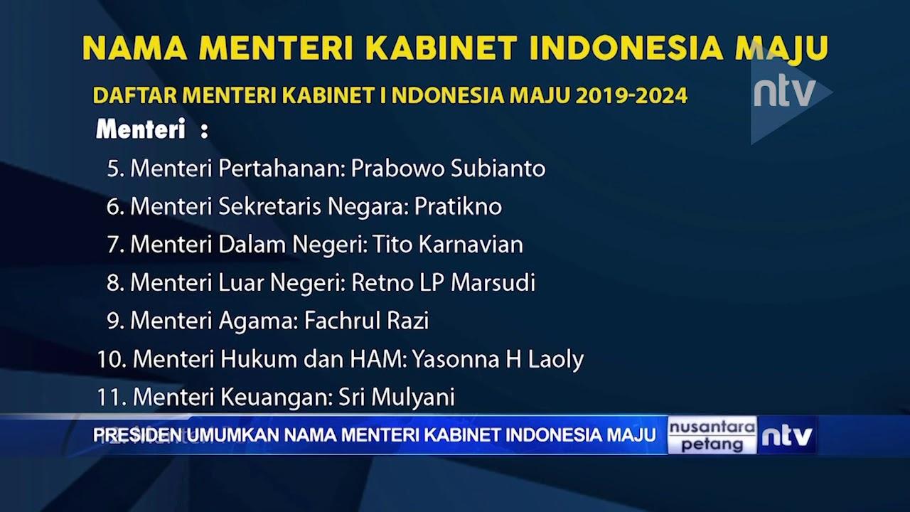 Presiden Umumkan Nama Menteri Kabinet Indonesia Maju