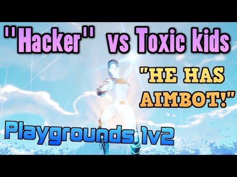 "Default Skin ""Hacker"" Exposes Toxic Squeakers in 1v2 - Fortnite Playgrounds vs Dumb kids"